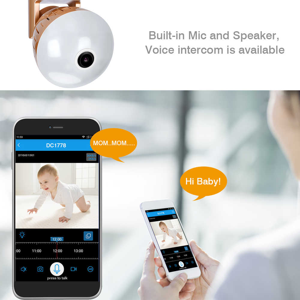 960P Wireless Panoramic IP 3D VR Camera WIFI Bulb Light FishEye Surveillance 180/ 360 Degree CCTV Home Security Mini Cam Wi-Fi