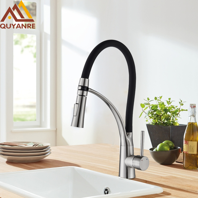 Quyanre Brushed Nickel Led Pull Out Kitchen Faucet 360 Swivel Hot