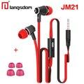 Jm21 langsdom originais fones de ouvido 3.5mm de ouvido fones de ouvido com microfone fone de ouvido fone de ouvido para iphone 6 s 7 telefones xiaomi redmi 4
