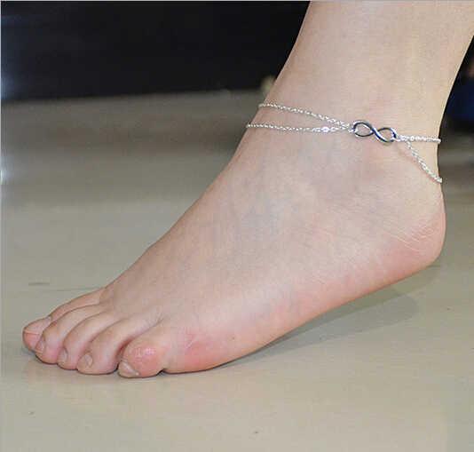 ขายส่งแฟชั่นผู้หญิงสาวP Resonalityดีอินฟินิตี้ผีเสื้อเงินสร้อยข้อมือสร้อยข้อเท้าข้อเท้าเท้าโซ่เครื่องประดับ