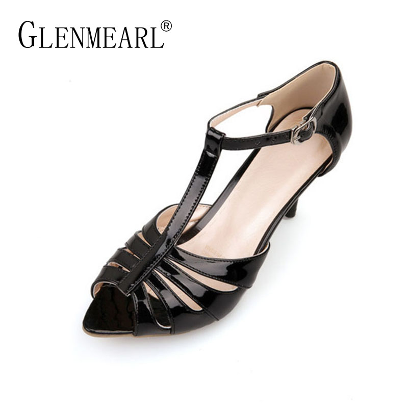 Rome Woman Sandals High Heels Shoes Brand Black T-Strap Summer Shoes Woman Peep Toe Thin Heels Plus Size Party Sandals Female DE стоимость