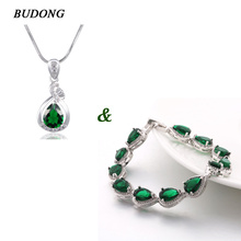 BUDONG Bracelet & Necklace Luxury Green Waterdrop Crystal CZ Bracelet for Women Silver  color Necklace Jewelry xuL174+xuP005