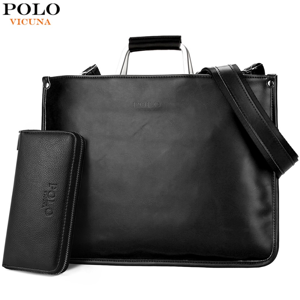 VICUNA POLO Simple Design Leather Men Briefcase With Metal Handle Business Men Document Bag Classic OL Mens Bags Men Handbag leather