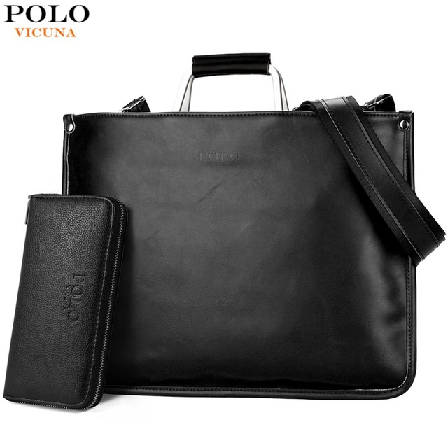 ab7b0bbfba7 VICUNA POLO Eenvoudig Ontwerp Lederen Mannen Aktetas Met Metalen Handvat Business  Mannen Document Bag Classic Office