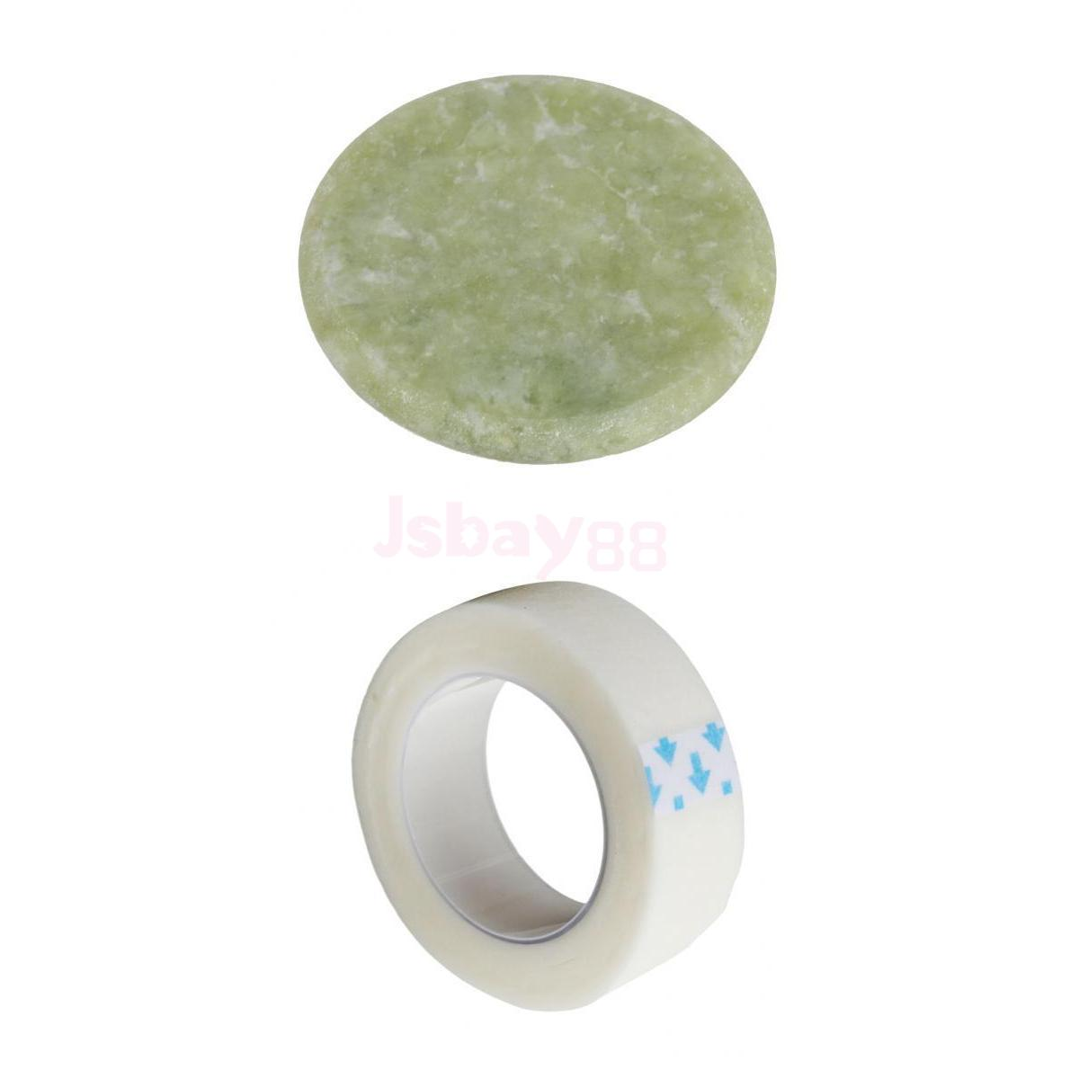Individual Eyelash Tape Extension Round Jade Stone Glue Adhesive Holder Set