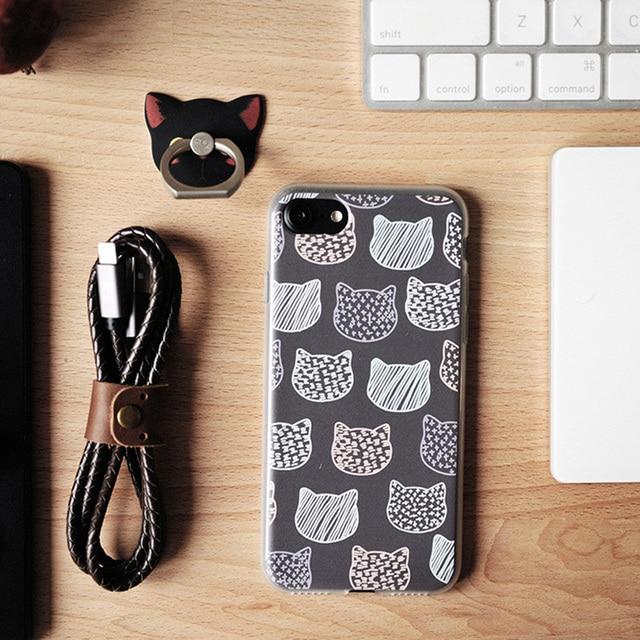 2017 Arte Caliente Máscara de Gato Lindo Cáscara Del Teléfono Móvil para el iphone 6 s Más Importaciones iphone Caja de Plástico Duro Transparente TPU Floral Lindo