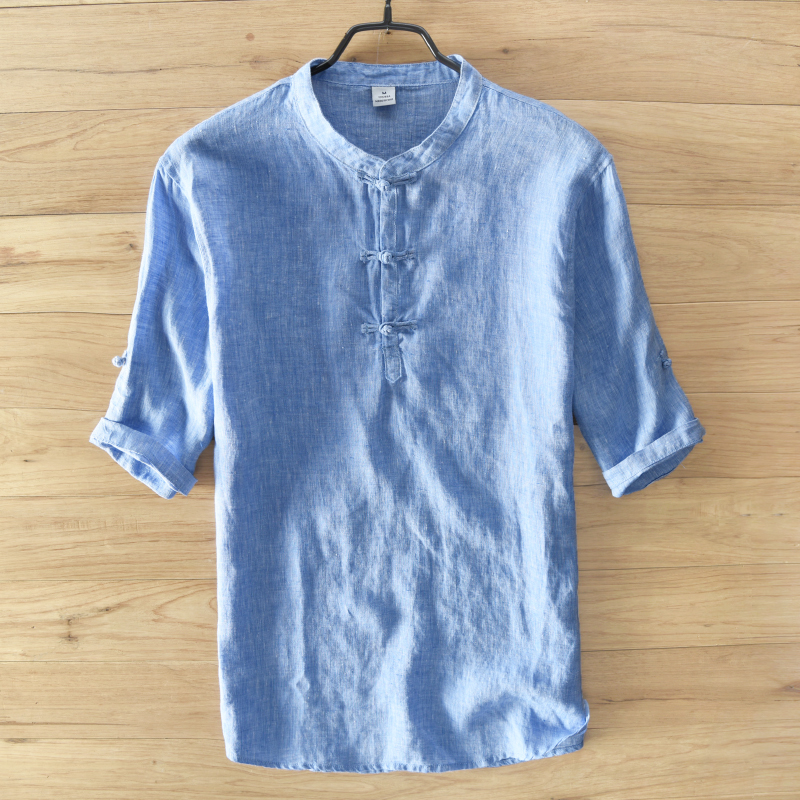 Italy linen shirt men solid sky blue men shirts breathable for Italian dress shirts brands