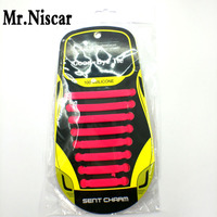 Mr Niscar 1 Set 16 Pcs Rose Red Fashion Elastic Silicone Shoelaces Men Women Kids Lazy