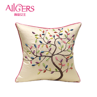 Avigers Embroidery Cotton Cushion Cover Pastoral Pink Comfort Pillow Case Core Home Decorative Kid Rural Sofa