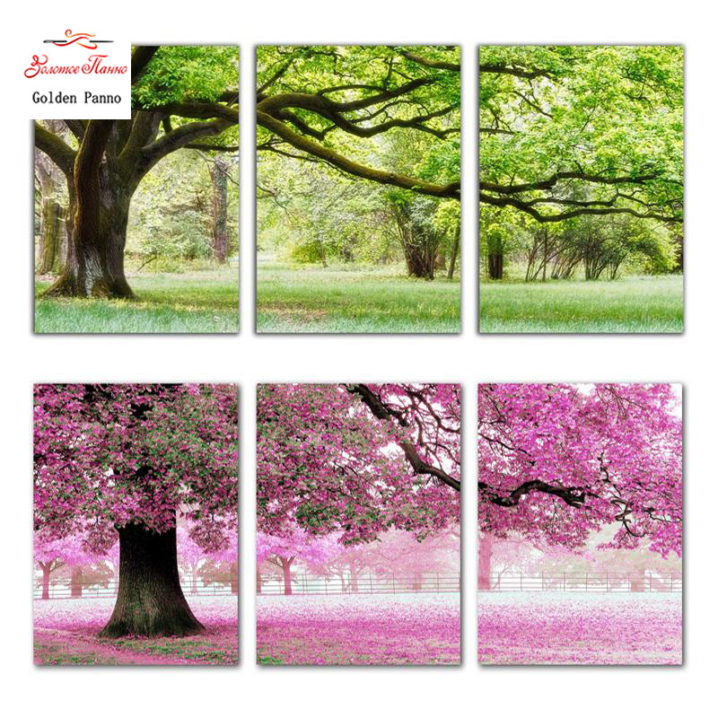 Needlework, DIY DMC Cross stitch, Sets For Embroidery kits, Precise Printed romantic trees factory sale Counted Cross-Stitching