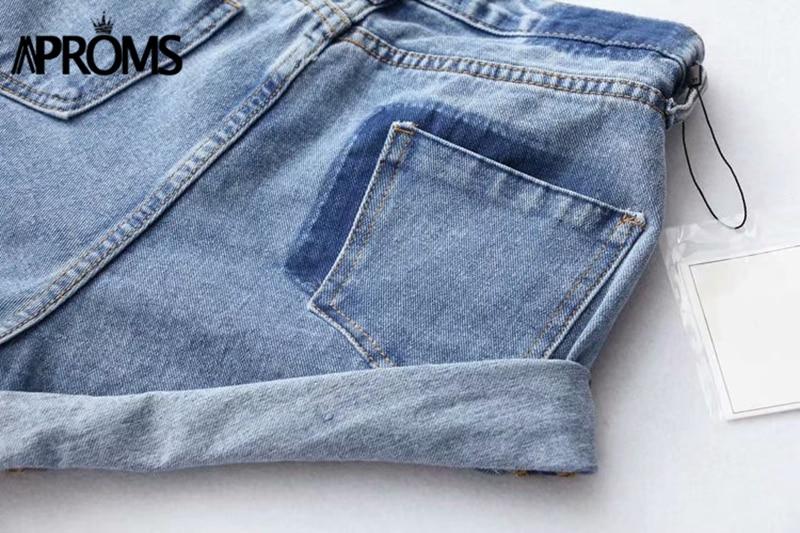 Aproms Casual Blue Denim Shorts Women Sexy High Waist Buttons Pockets Slim Fit Shorts 2019 Summer Beach Streetwear Jeans Shorts 53