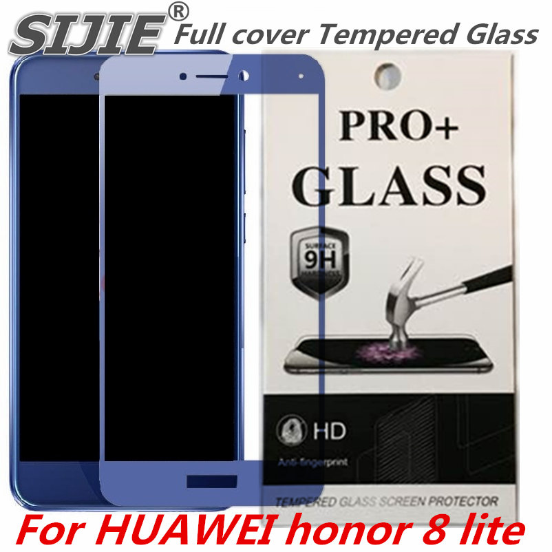 Full cover Tempered Glass For HUAWEI honor 8 lite screen protective 8lite honor8lite black White gold blue case 9H on display in Phone Screen Protectors from Cellphones Telecommunications