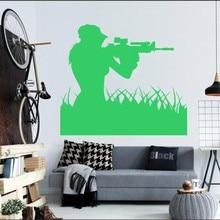 Air Force Woman Sniper Soldier Wall Sticker Art Design Home Livingroom Creative Mural Girl Silhouette Decal M-66