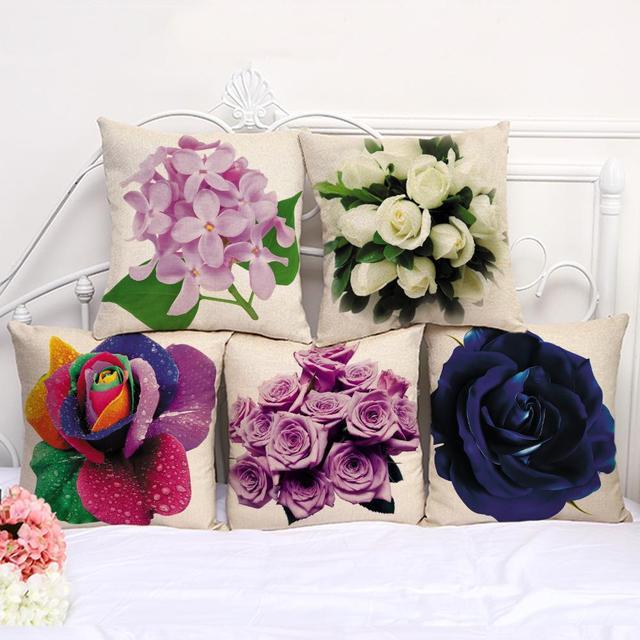 da0572428e637b R$ 20.64 |Pintura 3d Capa de Almofada Flor Rosa Vermelha Roxo Magnolia  Flores Folha de Lótus Girassol Decorações Casos Lance Travesseiro Para Casa  ...