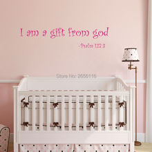 Bible Psalm Quotes Art Letting Wall Stickers I Am A Gift From God Vinyl Decals for Kids Room Decor a psalm for lost girls
