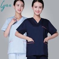 Brands Women Scrub Uniforms Beauty Salon Clothes Loose Short Sleeve Top+Pant Suit Semi Permanent Nurse Workwear