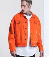 2017 High Europe Street Denim Jacket Cool Hole Stitching Multi Pocket Jeans Jacket High Quality Fashion