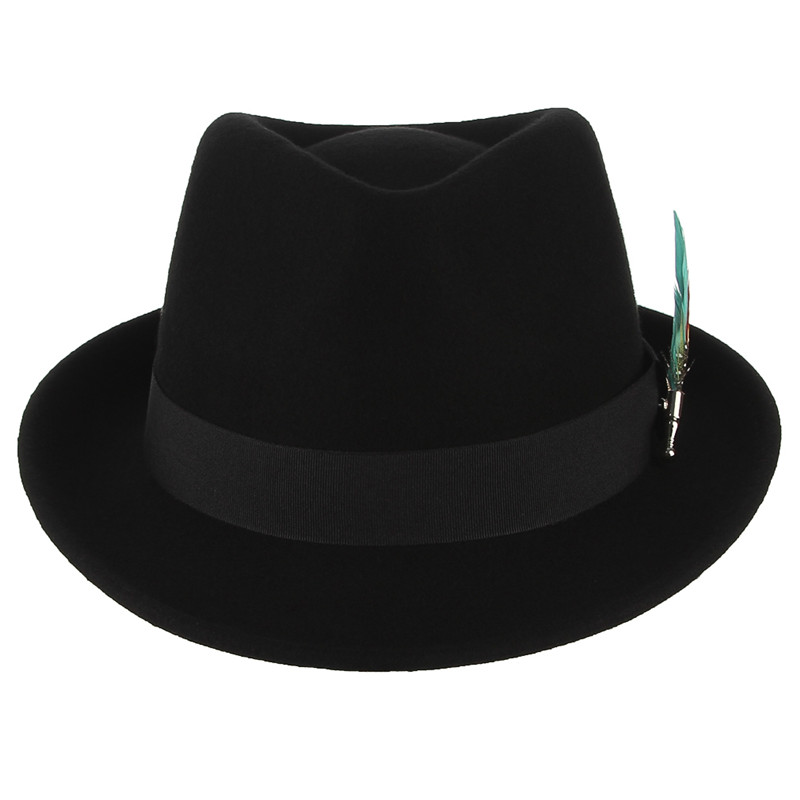 Image 3 - GEMVIE Men Women Trilby Feather Band Formal Fedora Hat Classical Curved Brim 100% Wool Jazz Hat Gentleman's Hat-in Men's Fedoras from Apparel Accessories