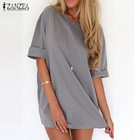 Save 3.93 on Summer Vestidos 2017 Fashion Women Casual Loose Shirt Dress Sexy Ladies Short Sleeve Solid Mini Dresses Plus Size 3 Colors