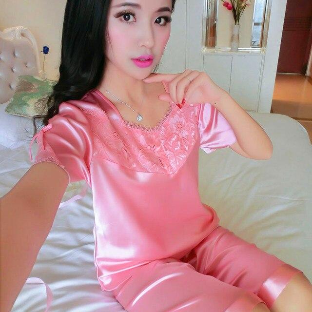 Mujer de verano de manga corta mujer ropa de dormir sexy conjunto de encaje de seda de primavera y otoño más tamaño salón de seda