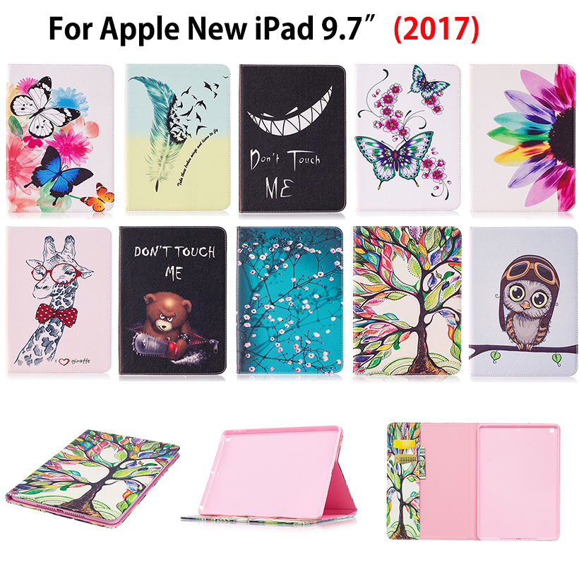 Cartoon Pattern Cover For Apple New iPad 9.7 2017 2018 A1822 A1893 Case Funda Tablet Silicone PU Leather Flip Stand Skin Shell fashion cartoon silicone pu leather flip cover for apple ipad air 1 2 case for ipad 5 6 tablet funda owl cat pattern stand shell