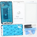 Branco completa completa habitação case capa para samsung galaxy note 3 N9005 + Frente Lente De Vidro Da Tela + Lente Da Câmera + Botões + ferramentas