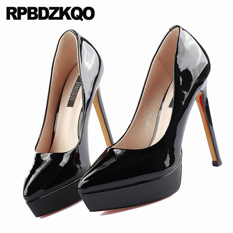 ultra pumps 2018 women platform <font><b>shoes</b></font> black pointed toe 12cm 5 inch <font><b>sexy</b></font> <font><b>high</b></font> <font><b>heels</b></font> super <font><b>fetish</b></font> scarpin patent leather <font><b>extreme</b></font> image
