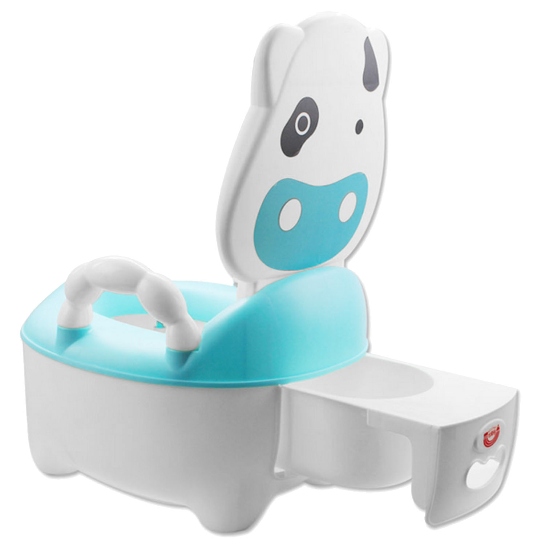 Baby Kids Kartun Desain Sapi Plastik Toilet Bayi Pelatihan Pelatih Seat Potty Kursi untuk 1-5 Tahun Bayi Biru-Intl