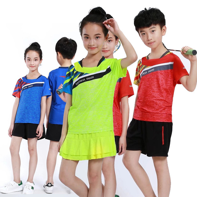 81ab9ab7104 Girl Tennis T Shirt + Skirts / Shorts, Kids tshirt badminton Clothing, Boys  tennis Jersey Clothes, Table Tennis Sets Table Suits