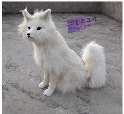 new big simulation fox toy resin&fur sitting white fox doll model gift about 38x20x54cm 2257