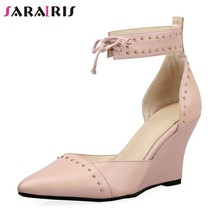 SARAIRIS 2018 Cow Leather Size 34-39 Wholesale Summer Sandals Wedge Heels  Lace Up Party Wedding Pumps Shoes Woman 5a6a8977b60c