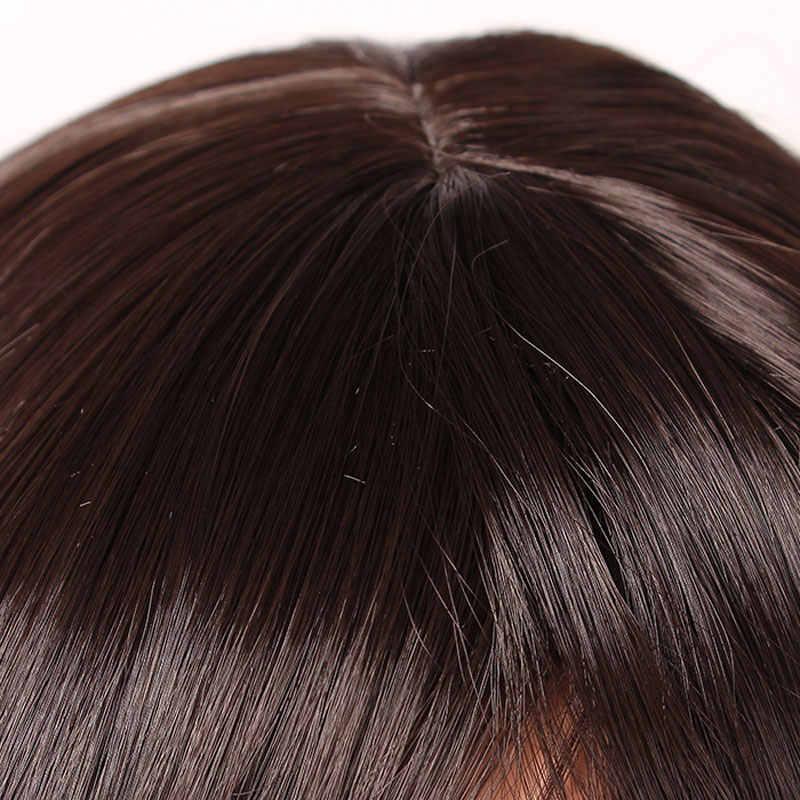 SNOILITE 12 cal krótkie proste włosy syntetyczne czarny brązowy 10 kolor Cosplay Bob peruka Bangs żaroodporne kobiety styl peruki