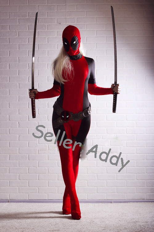 Lady Deadpool Black și roșu Spandex Freeshipping Bodysuit Femei - Costume carnaval