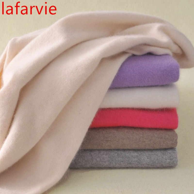 Lafarvie חמה באיכות גבוהה קשמיר סוודרים נשים אופנה סתיו חורף נשי רך ונוח חם Slim קשמיר סוודרים