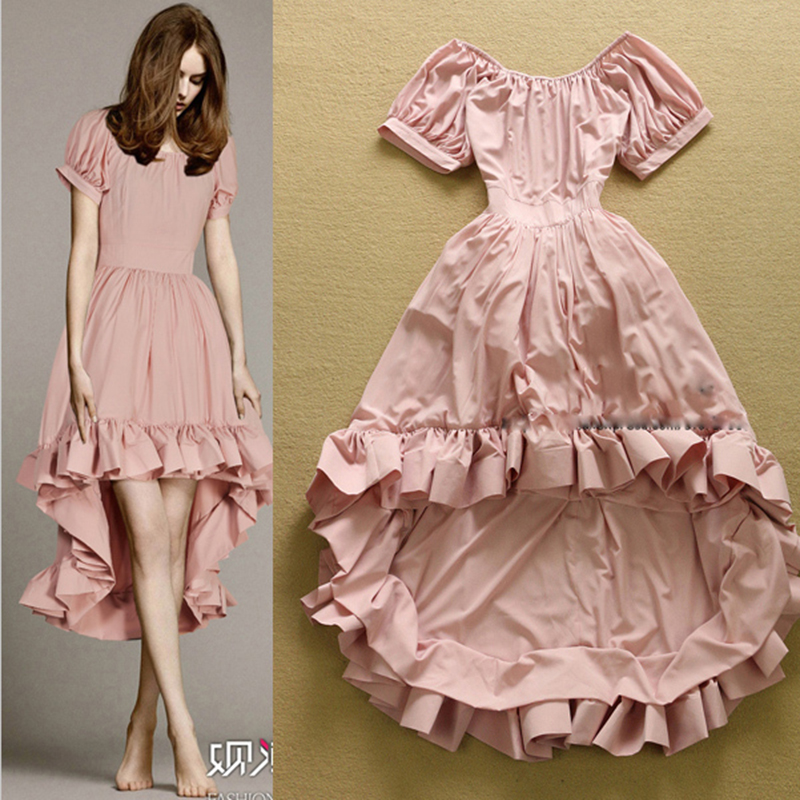 New 2017 Fashion Designer Party Dress Women's Solid Ruffle Dovetail Ball Gown Dress
