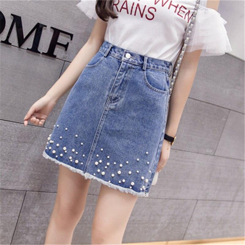Women Denim Skirt Pearl Beading Jeans Skirt Female Frayed Hem High Waist Pocket Button Denim Skirts Summer Mini Skirt Jupe Femme