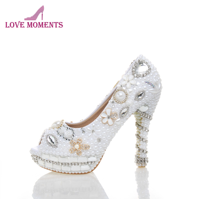 New Style Women Spring High Heel Shoes Genuine Leather Comfortable Mother of the Bride Shoes Peep Toe Wedding Pumps White Pearl qiu dong in fashionable boots sexy and comfortable women s shoes the new national style high heel heel thick heel
