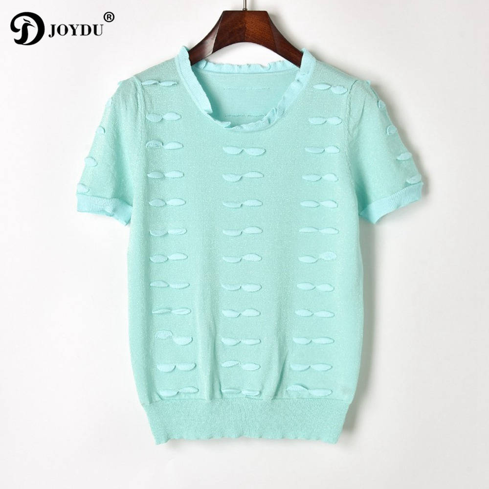 JOYDU Runway Sweet Knitted Summer Top 2018 Newest Fashion Mint Green 3D Petal Womens Tops And Blouses Short Sleeve Casual Shirt