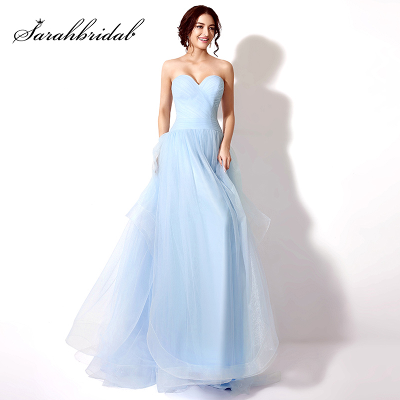 New Arrival Cheap Long Sky Blue   Prom     Dresses   2017 Tulle Sweetheart Sweep Train Evening Gala Party Gown Graduation   Dresses   SD239