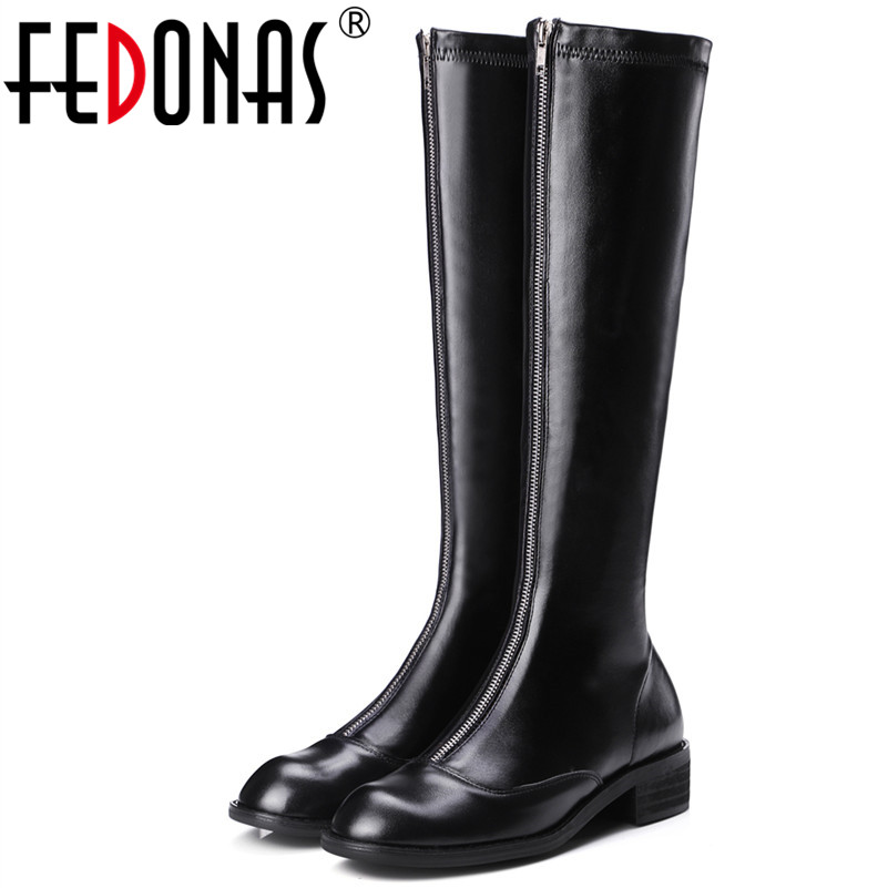 FEDONAS New Women Over The Knee Boots Genuine Leather Autumn Winter Warm Square Heels Shoes Woman Round Toe Zipper High Boots airfour new fashion style warm winter boots for women over the knee round toe square high heels poitnted toe fashion lady shoes