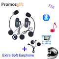 Extra Soft Earphone! FM+LCD Screen! 2PCS TCOM-SC 800M HiFi BT Motorcycle Intercom Bluetooth Helmet Intercom Headset