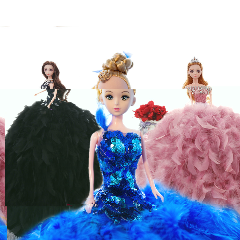 1 Piece 45CM Manufacturers Doll Bride Wedding Explosion Colorful Feather Trailing Princess Wedding Birthday Kids Fashion Stuffed