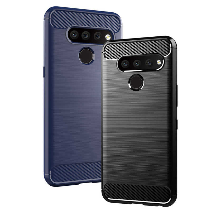 f287842844f Armor TPU Case For LG V50 ThinQ Brushed Carbon Fiber Texture Soft Silicone  Phone Back Cover