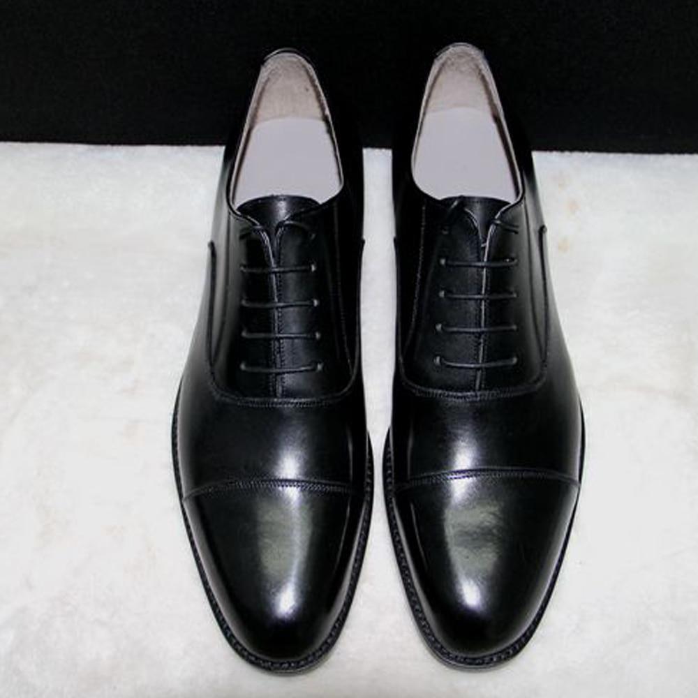 Luxury mens goodyear welt dress shoes black cap toe oxfords shoes italian handmade boss gents shoes best formal tuxedo shoes