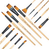14pcs Different Shape Acrylic Oil Painting Brush Suit Wooden Handle Brushes Drawing Tool Paint Pen With
