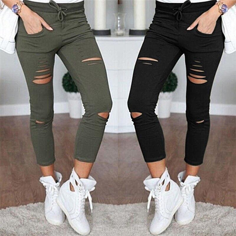 Women Skinny Ripped Hole Black Women Trousers Ankle-length Pants Slim Large Size Pantalon Femme Pencil Pant