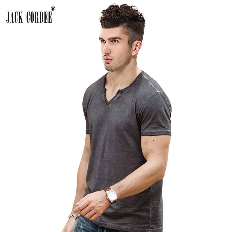 JACK CORDEE Hot Sale T-Shirt Män Slim Fit V-Neck Fashion Designer - Herrkläder - Foto 2