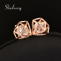 SINLEERY Luxury Rose Gold Color Cubic Zircon Geometric Stud Earrings For Women Jewelry Fashion Boucle D'Oreille Femme ES776
