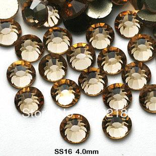 Frete grátis. Atacado Smoked Topaz cor falt volta rhinstone1440pcs / pack SS16 3.8 - 4 MM cristal Nail Art strass