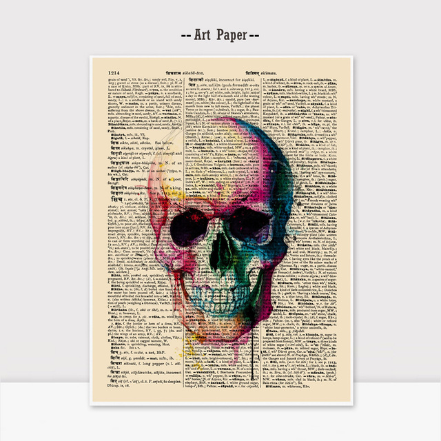 Watercolor Skull Wall Hanging Gift for Children Newspaper Wall Art ...